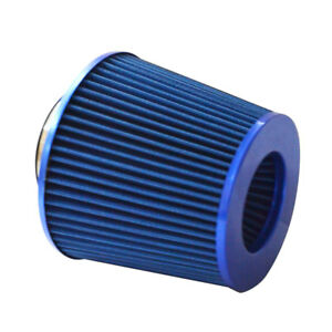 4 Chrome Inlet High Flow Short Ram Cold Intake Round Cone Air Filter Blue