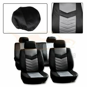 10 Pieces For 2007 2012 Toyota Corolla Black Gray Embossed Cloth Car Seat Covers