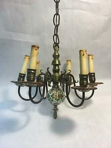 Vintage Hand Painted Italian Ceramic And Brass 6 Arm Chandelier And Wall Sconce