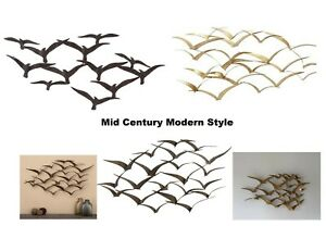 Mid Century Modern Style Metal Birds In Flight Wall Art