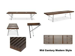 New Mid Century Modern Style Wood Slat Bench With Chrome Legs