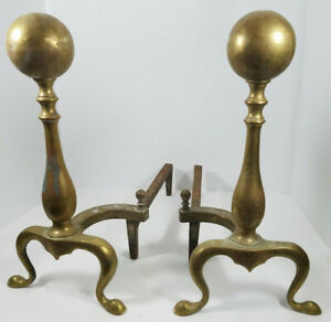 Vintage Brass Fireplace Andirons Firewood Holders Pair 16 1 2 Tall