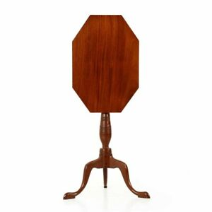 American Federal Tilt Top Mahogany Antique Candle Stand Side Table C 1800 15