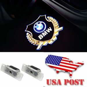 Bmw Gold Logo Car Door 2pc Led Light Projector Easy Install Emblem Ghost Shadow
