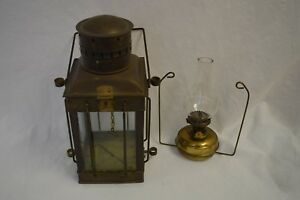Antique Vintage Neptune Brass Copper Ship Mast Lantern Light Oil Lamp Ex