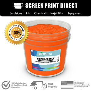Ecotex Fluorescent Bright Orange Water Based Ready To Use Discharge Ink 5 Gal