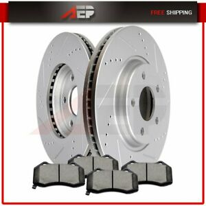 Front Brake Disc Rotors Ceramic Pads Drilled Slotted For Chevy Pontiac Saturn