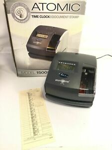 Lathem Atomic Time Clock Document Stamp Employee Punch Card Radio Model 1500e