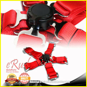 1 X Heavy Duty Nylon 5 point Cam Lock Safety Harness Seat Belts Universal Red