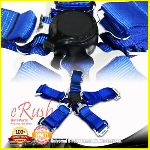 1 X 2 Duty Nylon Jdm 5 Point Cam Lock Safety Harness Seat Belt Universal Blue