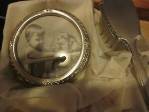 Vintage Antique Saart Sterling Silver Baby Brush Round Picture Frame Set Box