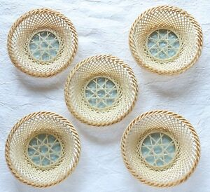 Japanese Vintage 5 Tea Cup Tray Bamboo Woven Wood Glass Chataku Handicraft