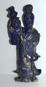 Large Antique Chinese Carved Lapis Lazuli Meiren Beauty With Floral Basket