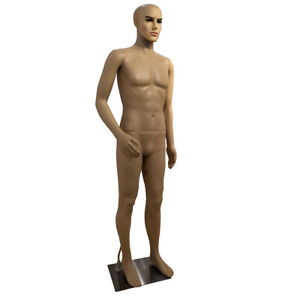 Adult Male Curved Right Arm Straight Foot Body Model Mannequin Skin Color