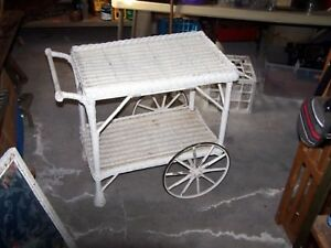 Antique Wicker Tea Cart
