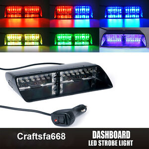 12 Led Rgb 6 Color Windshield Emergency Flash Led Strobe Light Dashboard Window