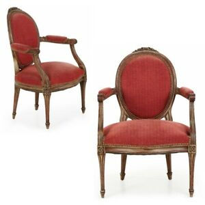 French Louis Xvi Style Pair Of Neoclassical Gray Painted Antique Side Arm Chairs