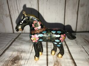 Antique Chinese Cloisonne Enamel Horse Figurine 4 Tall 5 Long And 1 3 8 Wide
