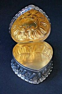 Valentine S 19c Hinged Heart Shape Pie Crust Box Sterling Silver With Gold Wash