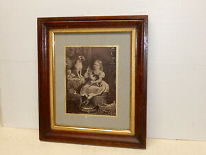 Antique Walnut Gilt Early Victorian Picture Frame Circa 1860