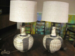 Mid Century Modern Studio Pottery Ball Table Lamp Pair White Brown Martz Style