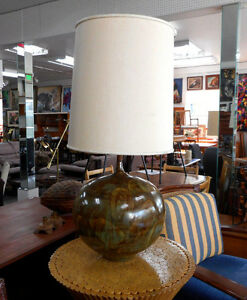 Mid Century Danish Modern Large Ball Shaped Drip Glazed Olive Green Table Lamp