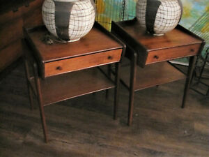 Danish Modern Teak Svend A Madsen Small Side Tables W Drawer Shelf Set Of 2