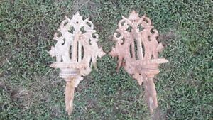 Vintage Pair Of Ornate Cast Iron Wall Sconces Lamp Candle Heavy Gothic