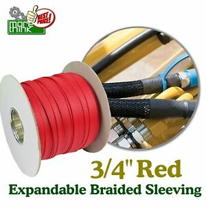 Heavy Duty Nylon Sleeving Expandable Sleeve Braided Cable Guard 3 4 Red Lot