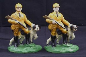 Antique Hunter W Hunting Setter Dog Cast Iron Bookends Hubley Circa 1930 S