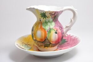 Vintage Italaian Decorative Wash Basin Bowl And Water Pitcher