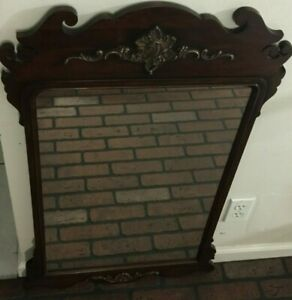 Vintage Wood Chippendale Large Wall Mirror
