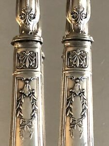 Antique French Empire Silver And Ivory Salad Serving Rare Set