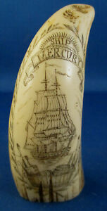 Replica Whale Tooth Scrimshaw With Ship Mercury