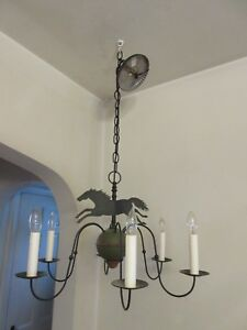 Antique Vintage Iron Horse Weathervane Country Chandelier Primitive Folk Art Wow