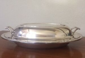 International Silver Co Silver Plate Serving Covered Bowl Dish Lid Camille 6012