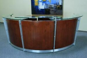 New Dark Cherry Curved Reception Desk W thick Glass Counter Top 10 Ft 9 Inches