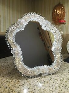 Vintage Murano Italy Venetian Glass Wall Hang Or Dresser Vanity Mirror 10 X9 5