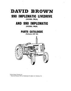 Case Ih 990 A B Implematic David Brown Tractors Parts Catalog