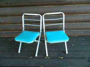 Vtg Aluminum Folding Camping Chairs Lot Of Two 1948