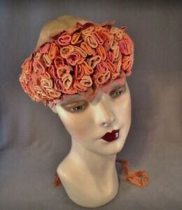 Lush 1920s Large Blush Toned Silk Ribbon Work Millinery Trim