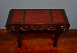 Small Chinese Hardwood Burlwood Stand Alter Table