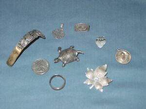 Vintage Sterling Silver Jewelry Lot Scrap Crafts Projects 28 3 Dwt