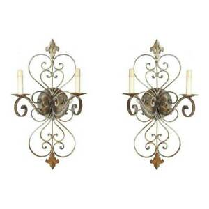 Hand Forged Rusted Wrought Iron Classic Wall 2 Arms Candle Scrolls Sconces