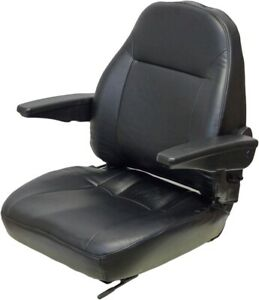 Black Vinyl Seat With Armrest Mounting 6 50 13 00 X 3 25 13 Fast Shipping