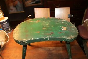 Antique Primitive Milking Foot Stool Great Green Paint Well Made Dovetail Runner
