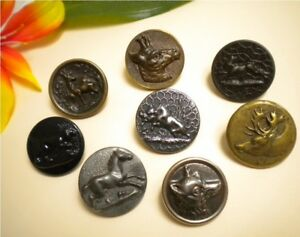 Antique Wolf Boar Deer Hare Horse Metal Hunt Picture Button Lot Paris Grenoble