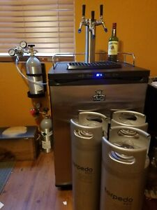 Used 3 Tap Kegerator Includes 3 Ball Lock 5 Gal Kegs 2 Co2 Tanks And Regs