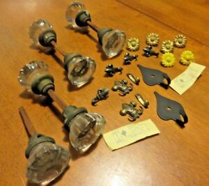 Antique Glass Door Knobs Lot Hardware Furniture Tacks Colonial Fleur Hooks Lot