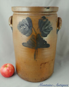 Signed Blue Decorated Baltimore Stoneware Crock C 19th Century